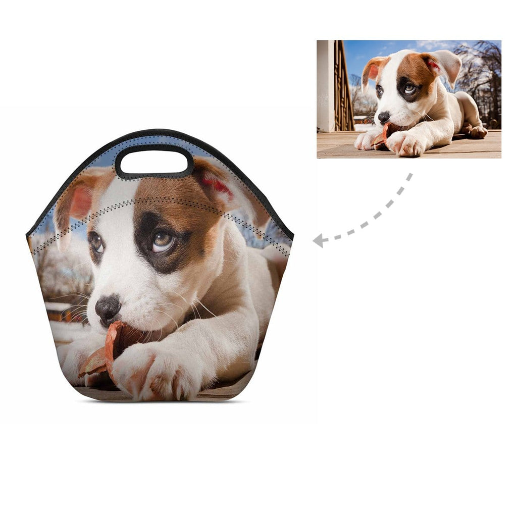 Custom Pit Bull Photo Neoprene Lunch Bag