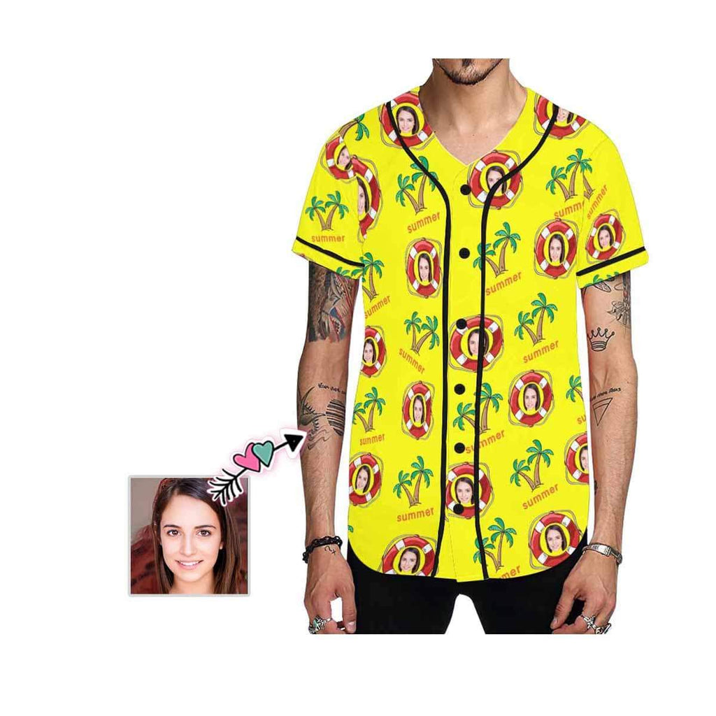 Custom Face Yellow Swimming Ring Men's All Over Print Baseball Jersey
