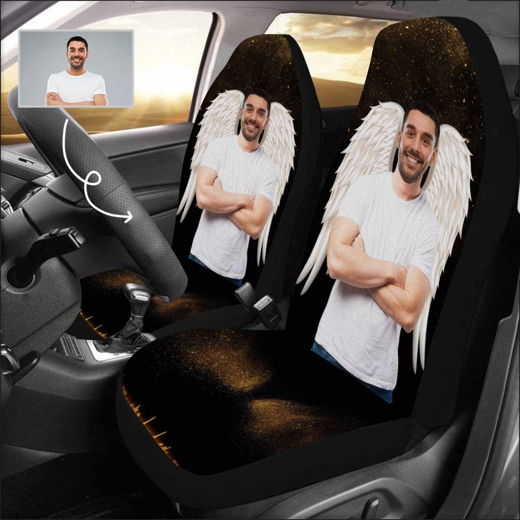 Custom Face White Wings Car Seat Covers (Set of 2)