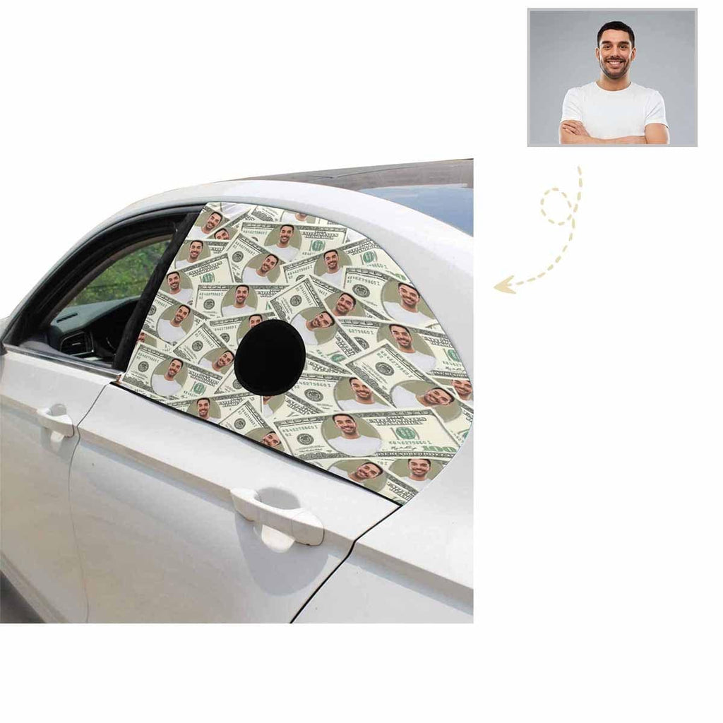 Custom Photo Dollar Design Pet Dogs Car Window Sun Shade Cover