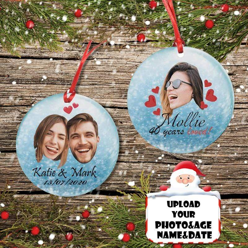 Custom Face&Name&Age&Date Couple Circle Ornament
