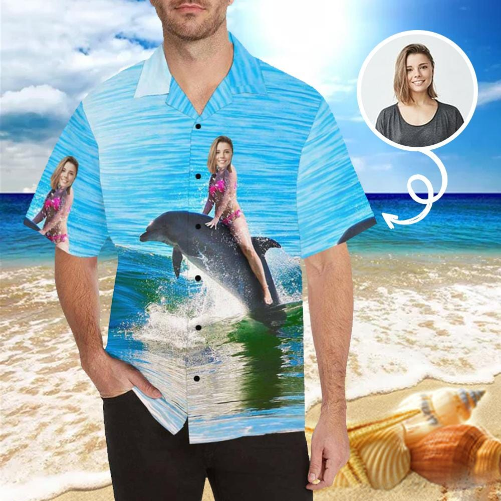 Custom Face Sea Dolphin Photo Men's All Over Print Hawaiian Shirt