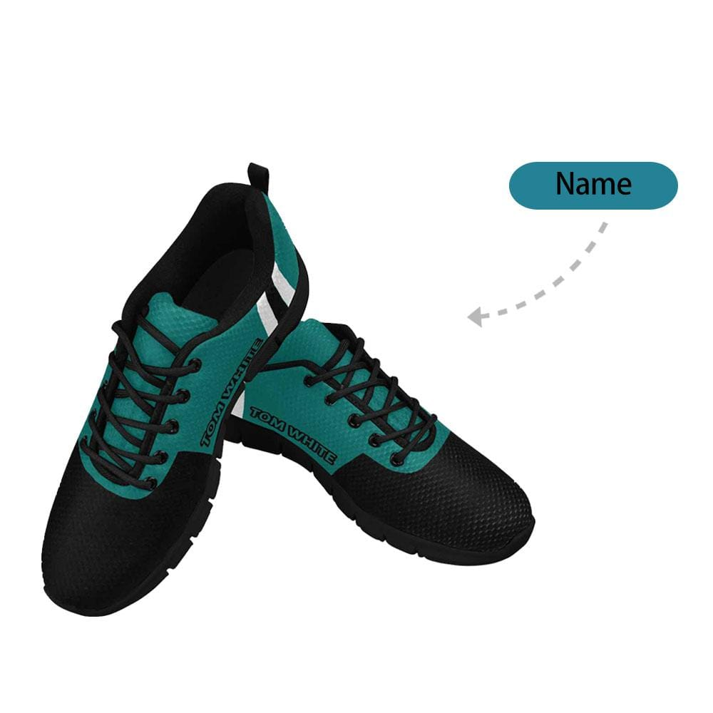 Custom Name Black Green Men's Breathable Sneakers