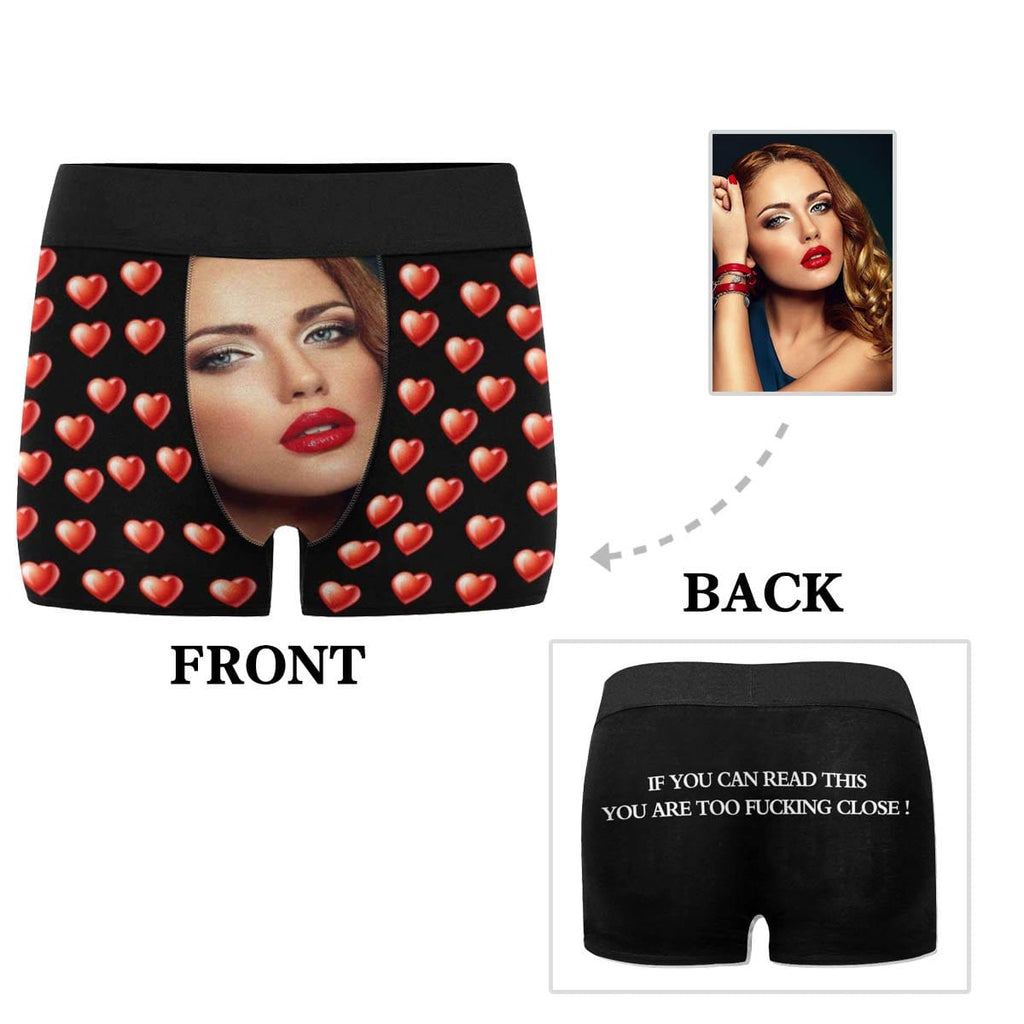 Custom Face Read This Heart Men's Boxer Briefs