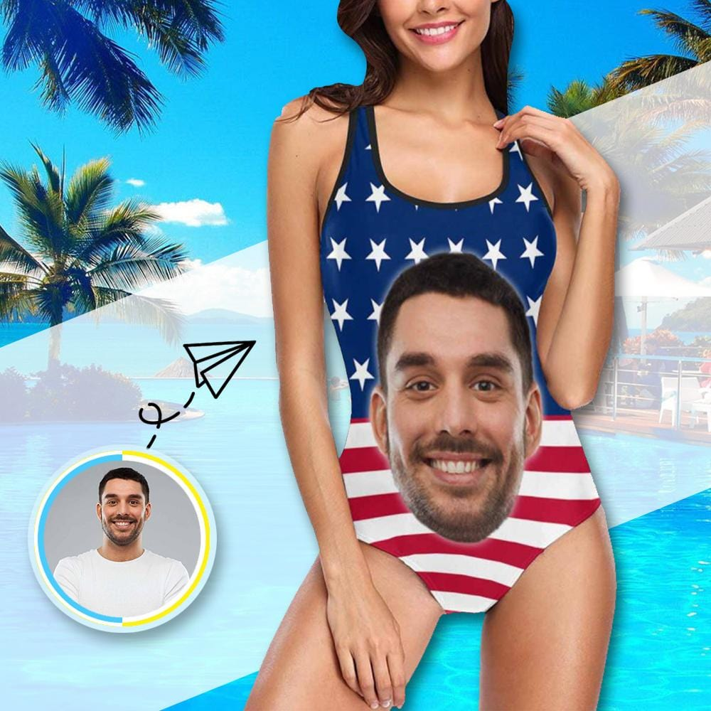 Custom Husband Face American Flag Tank Top Bathing Swimsuit