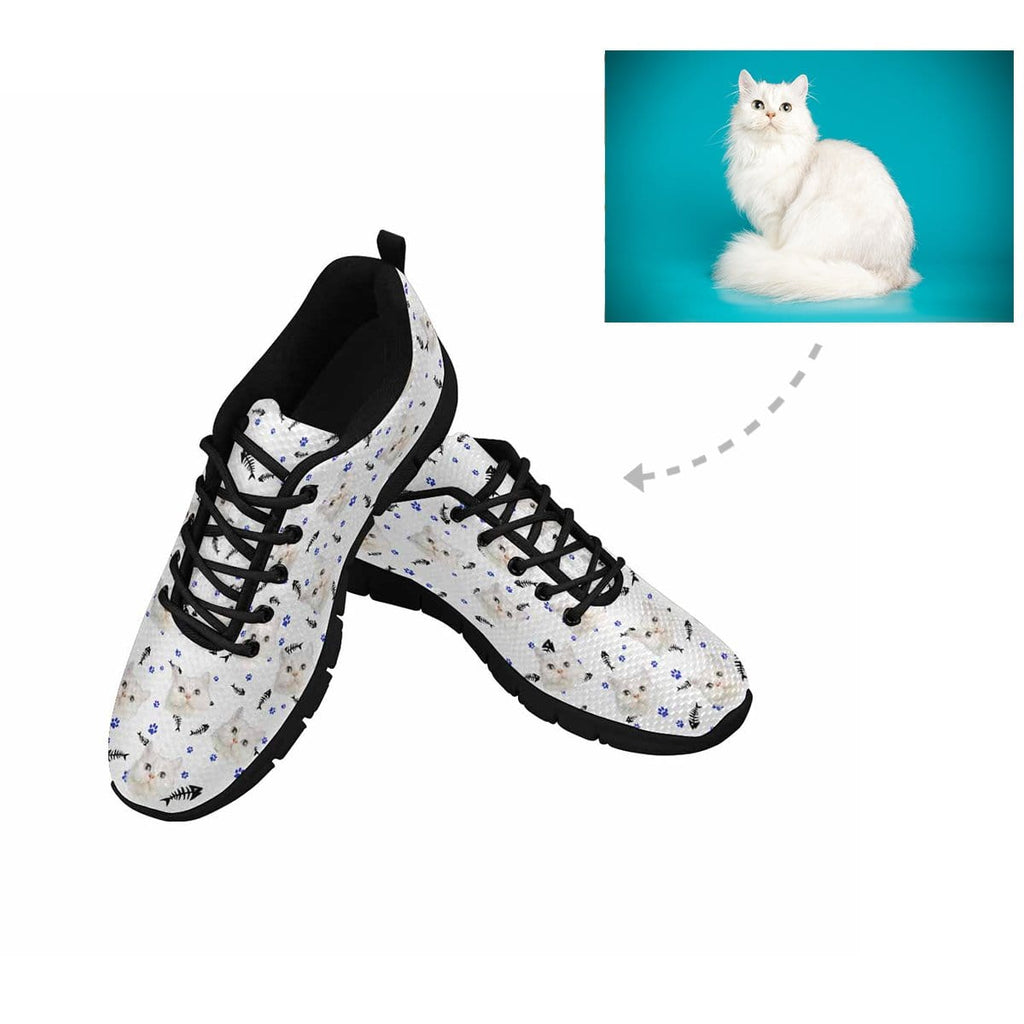 Custom Cat Face Paw and Fish Bone Men's Running Shoes