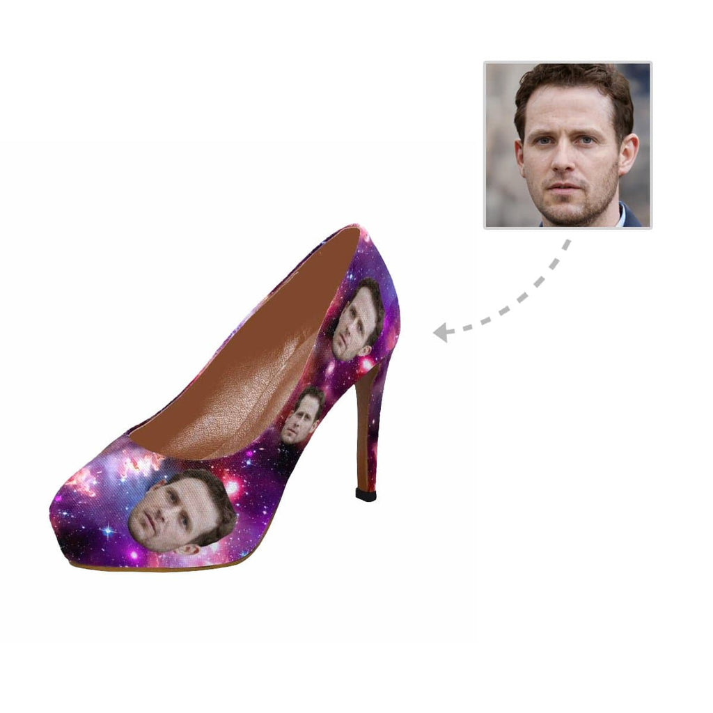 Custom Face Amethyst Starry Women's High Heels