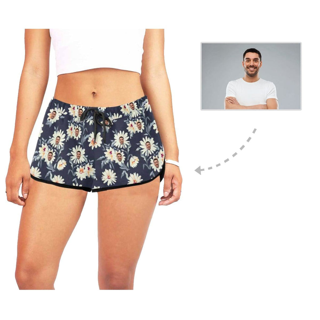 Custom Face Little Daisies Women's Casual Yoga Shorts