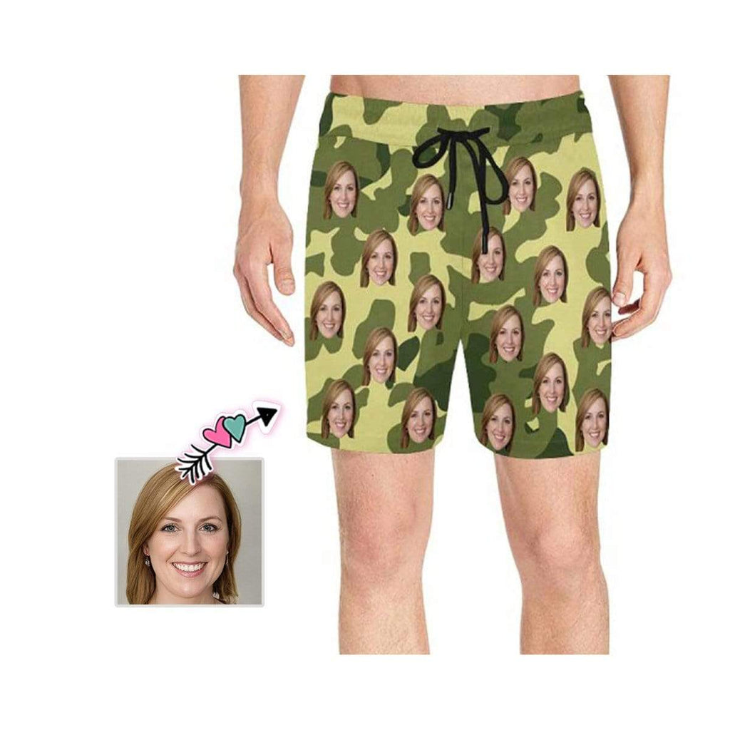 Custom Face Camouflage Men's Mid-Length Swim Shorts