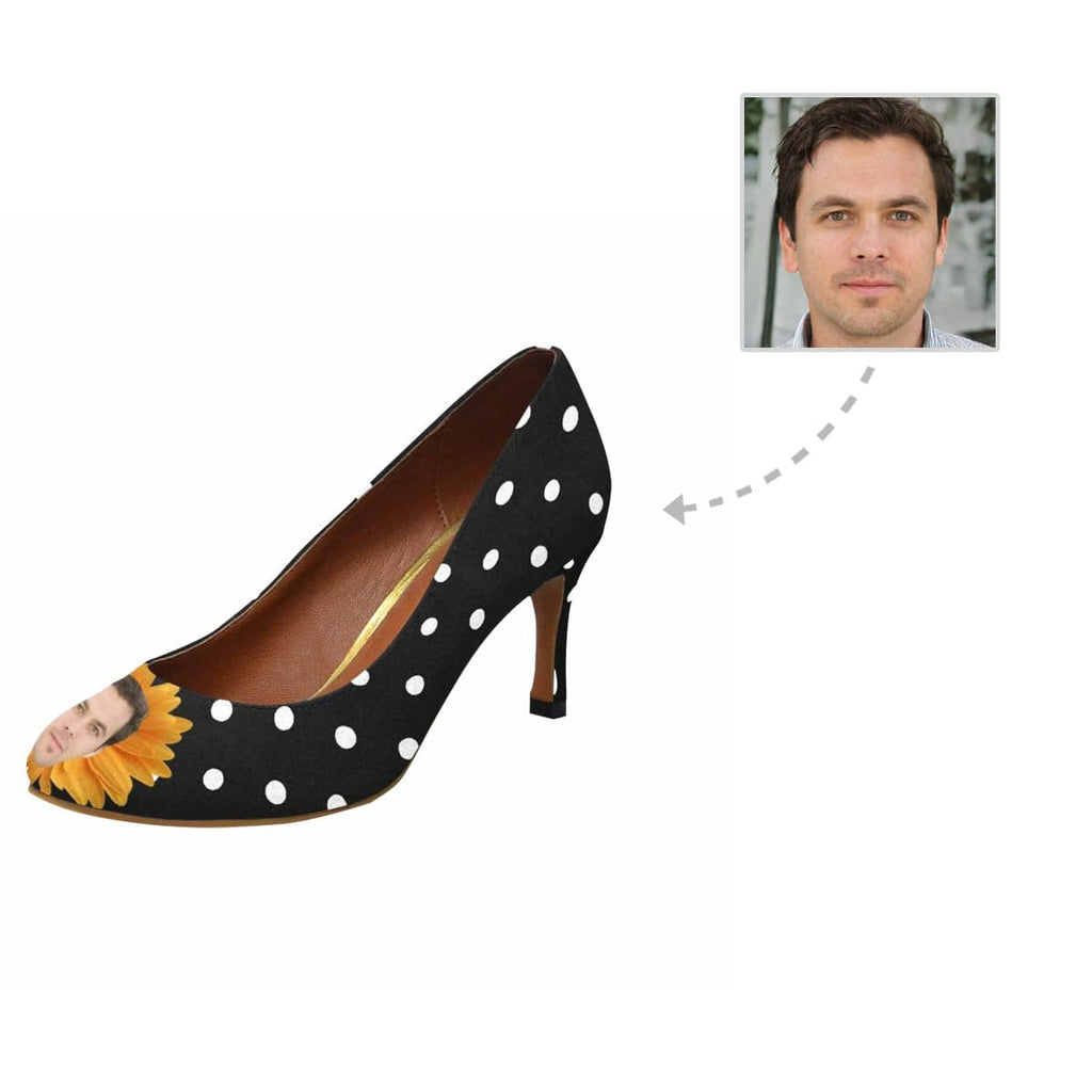 Custom Boyfriend Face Polka Dot Women's Pumps