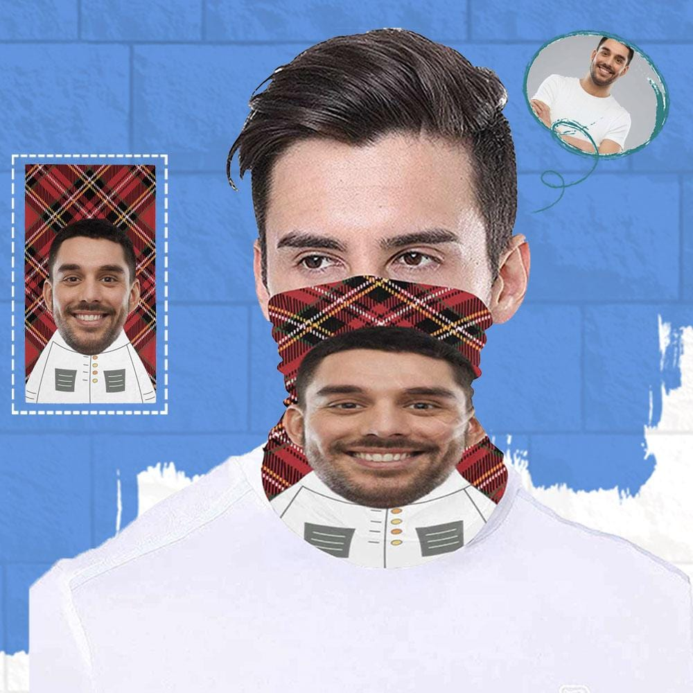 Custom Face Cartoon Body Red Grid Multifunctional Bandanas