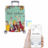 Custom Letter Cartoon People Luggage Cover