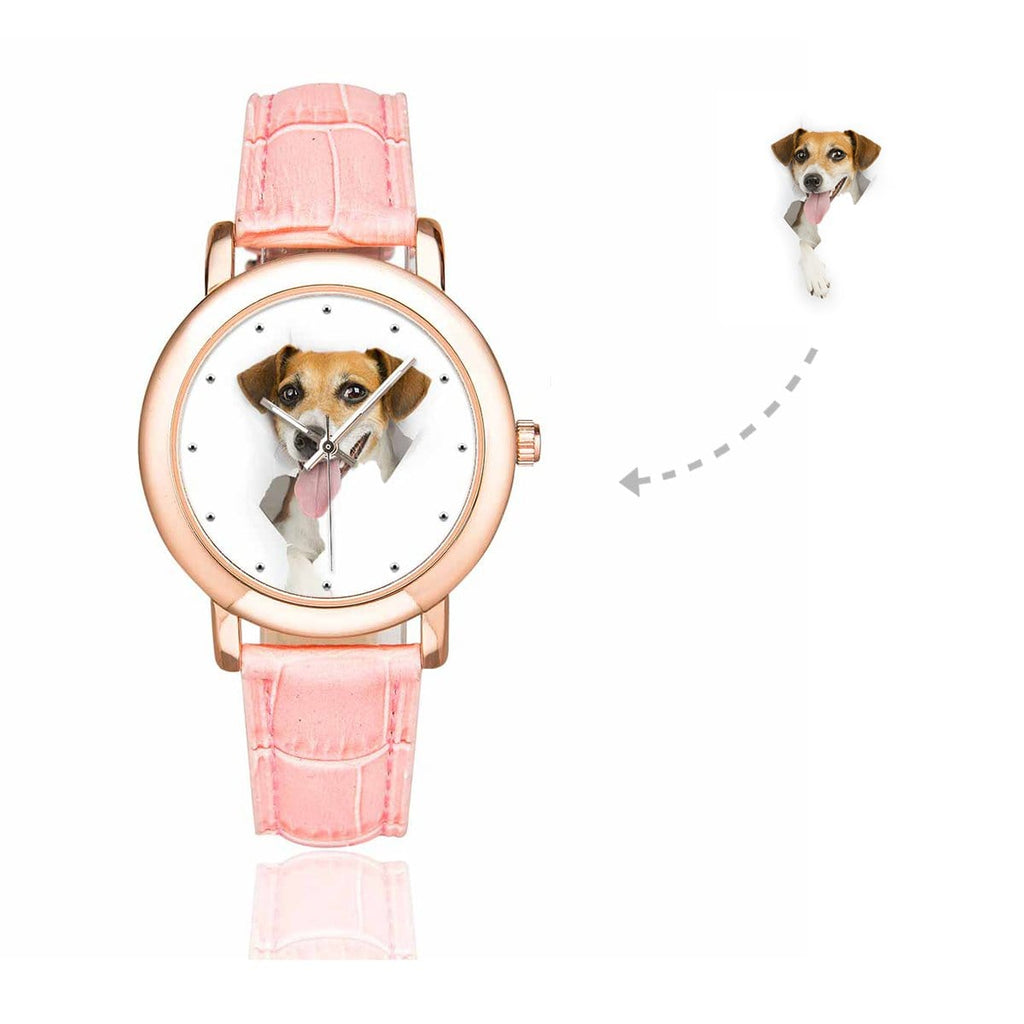 Custom Women's Rose Golden Dog Photo Watch, Pink Leather Strap