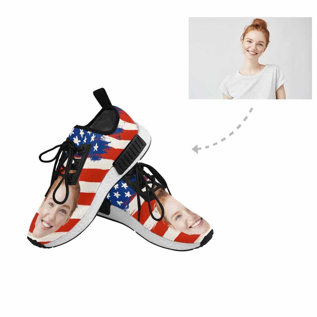 Custom Face American Flag Draco Running Men's Sas Shoes