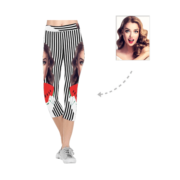 Custom Mother Face Black & White Stripe All-Over Low Rise Capri