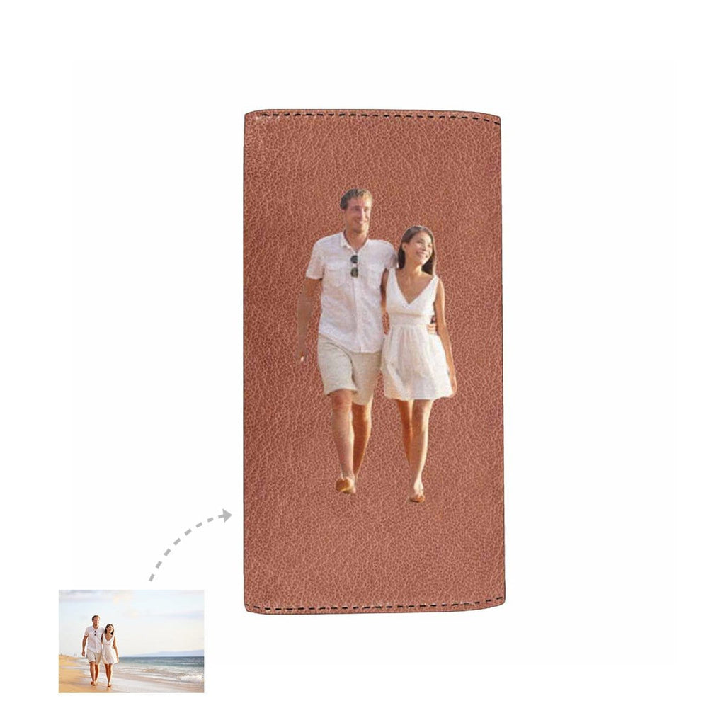 Custom Love Couple Photo Trifold Long Clutch Wallet
