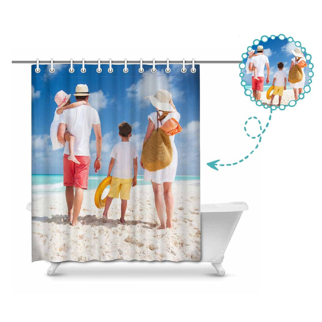 "Custom Family Photo Summer Ocean Beach Shower Curtain 66""x72"""