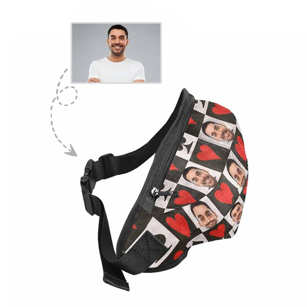 Custom Face Grid Heart Waist Bag
