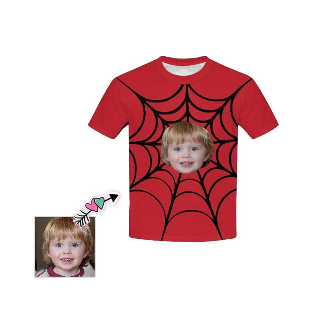Custom Face Spider Web Kid's All Over Print T-shirt