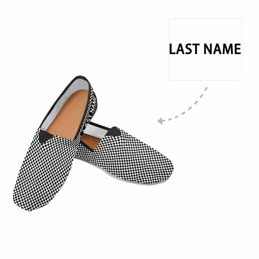 Custom Name Black&White Grid Casual Canvas Women's Shoes