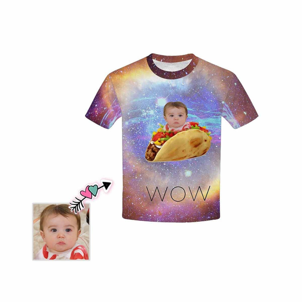 Custom Face Wow Kid's All Over Print T-shirt