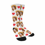 Custom Face Love Heart Sublimated Crew Socks