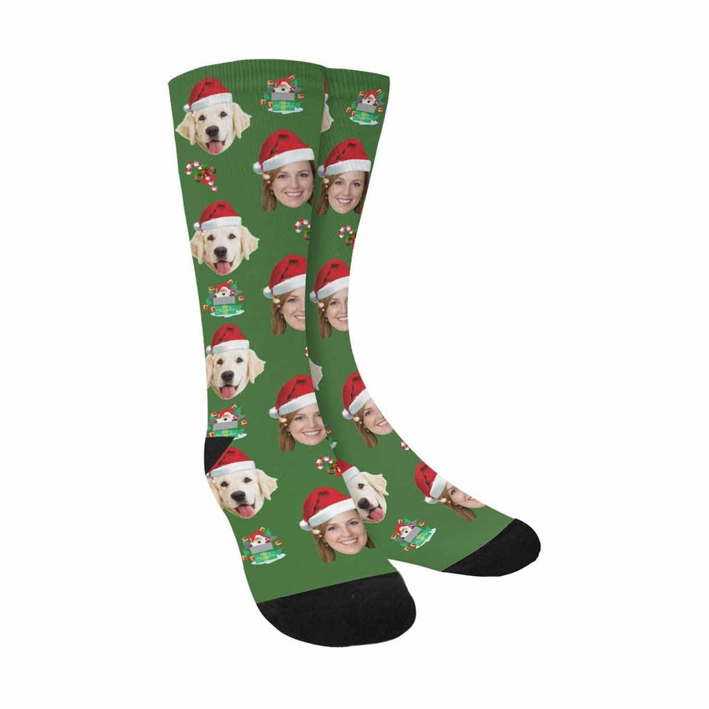 Custom Face Christmas Dog Hat Sublimated Crew Socks