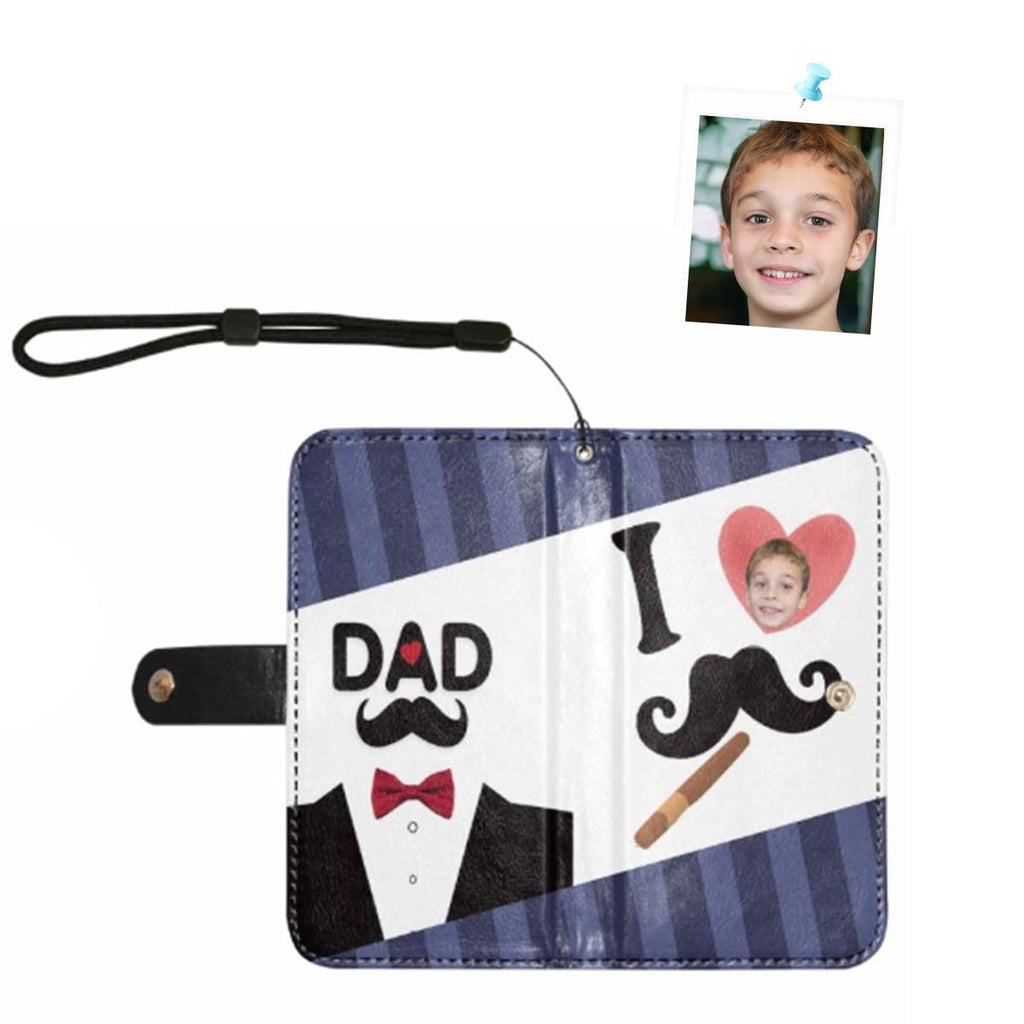 Custom Face I Love Dad Suit Flip Leather Purse for Mobile Phone