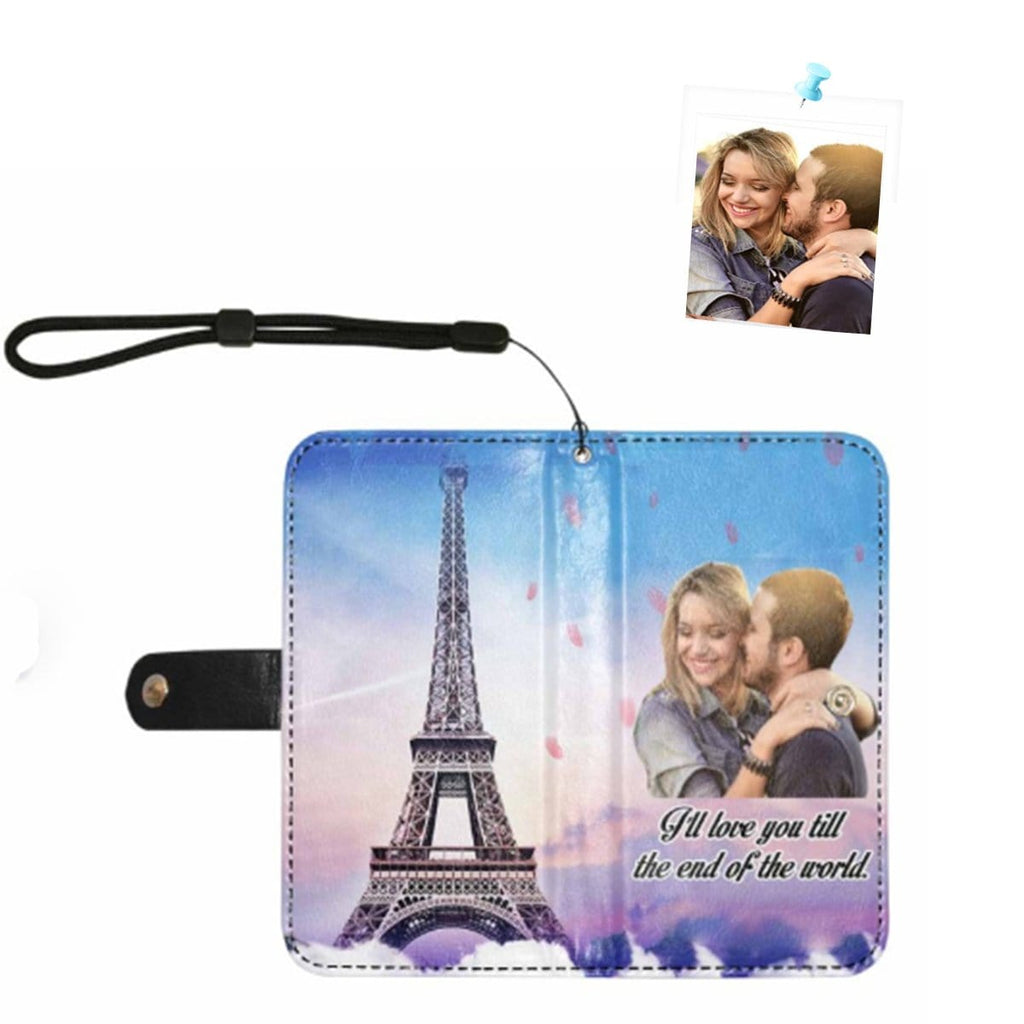 Custom Face Eiffel Tower Couple Photo Flip Leather Purse for Mobile Phone