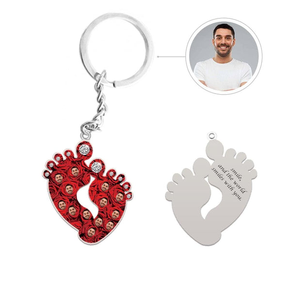 Custom Face Red Rose Feet Shape Silver Keychain