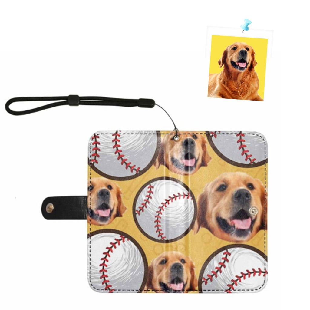 Custom Face Pup Circle Baseball Yellow Flip Leather Purse for Mobile Phone