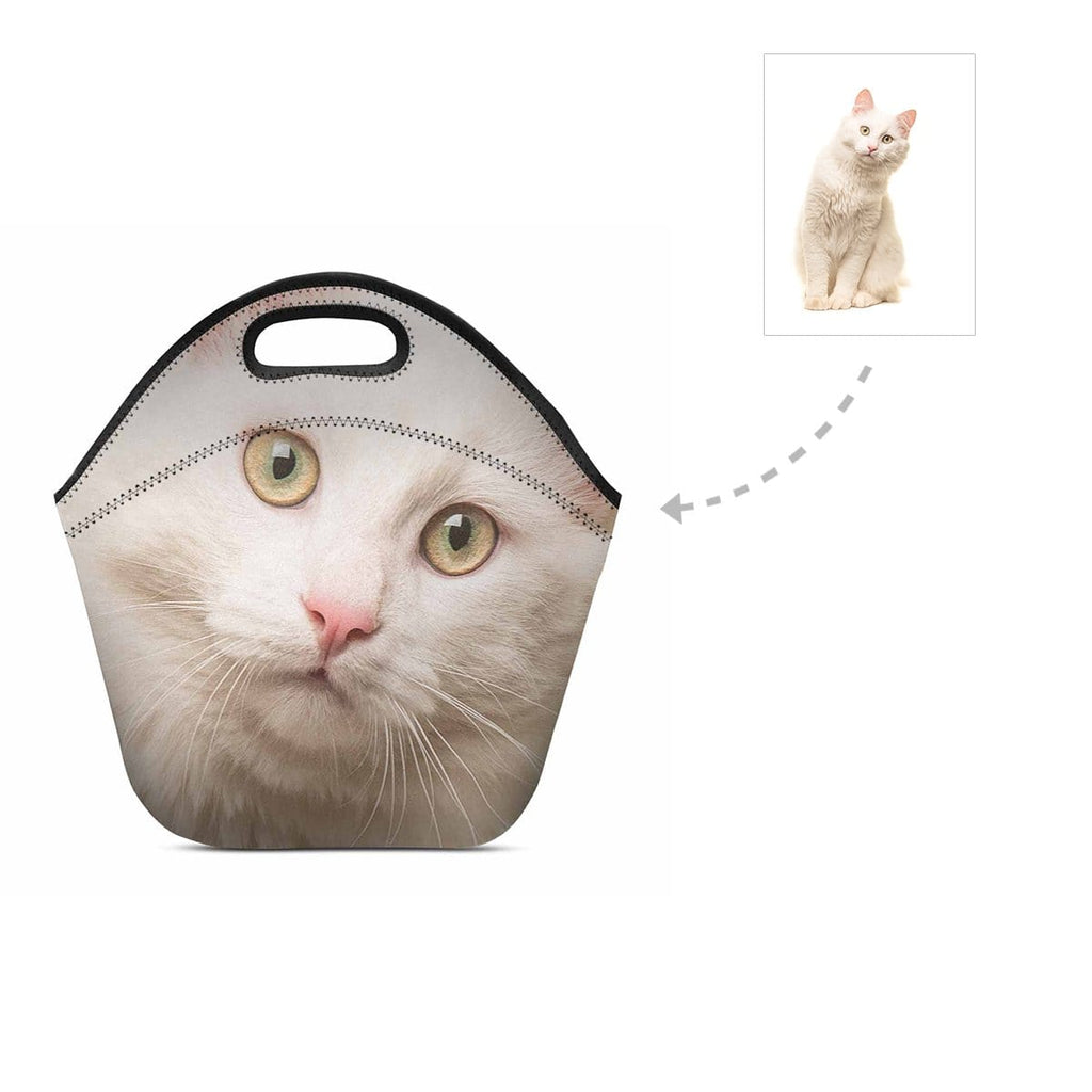 Custom Angora Cat Face Neoprene Lunch Bag