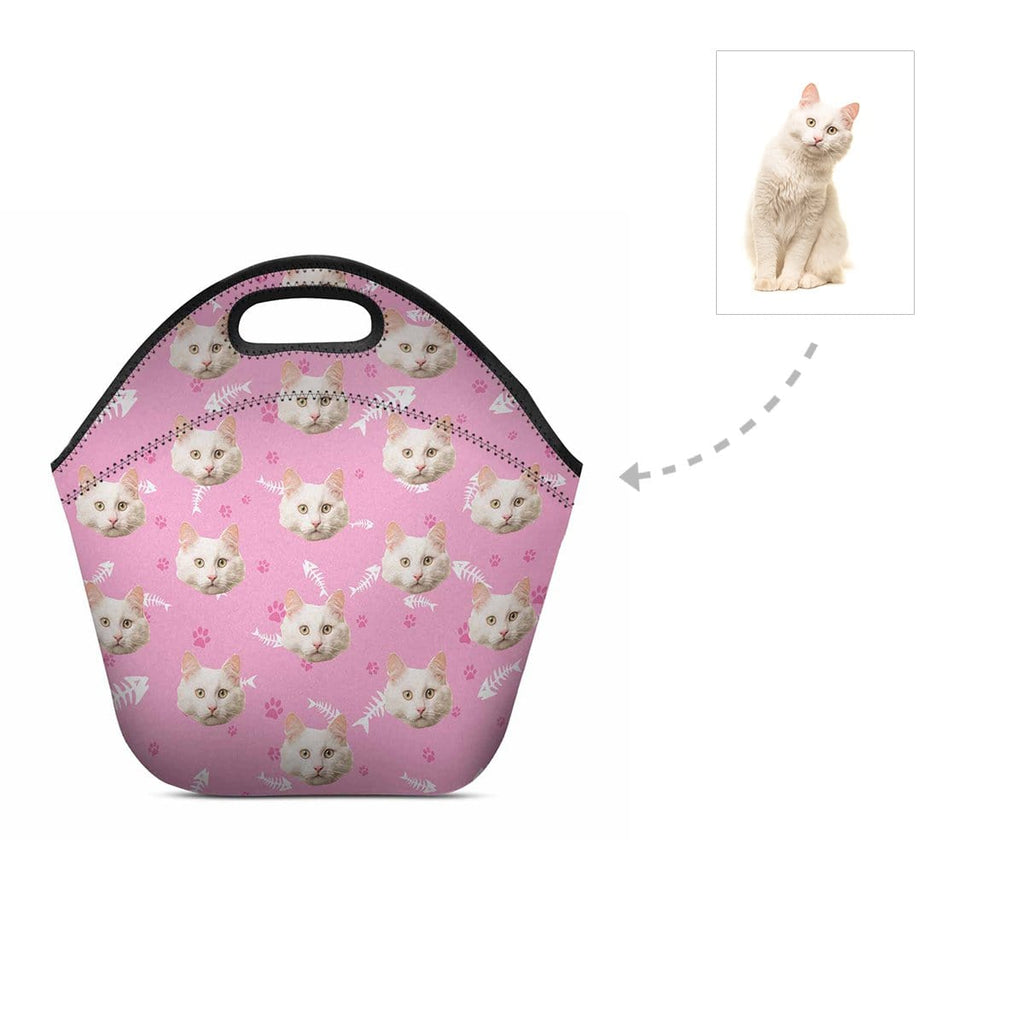 Custom Angora Cat Face Paw and Fish Bone Neoprene Lunch Bag