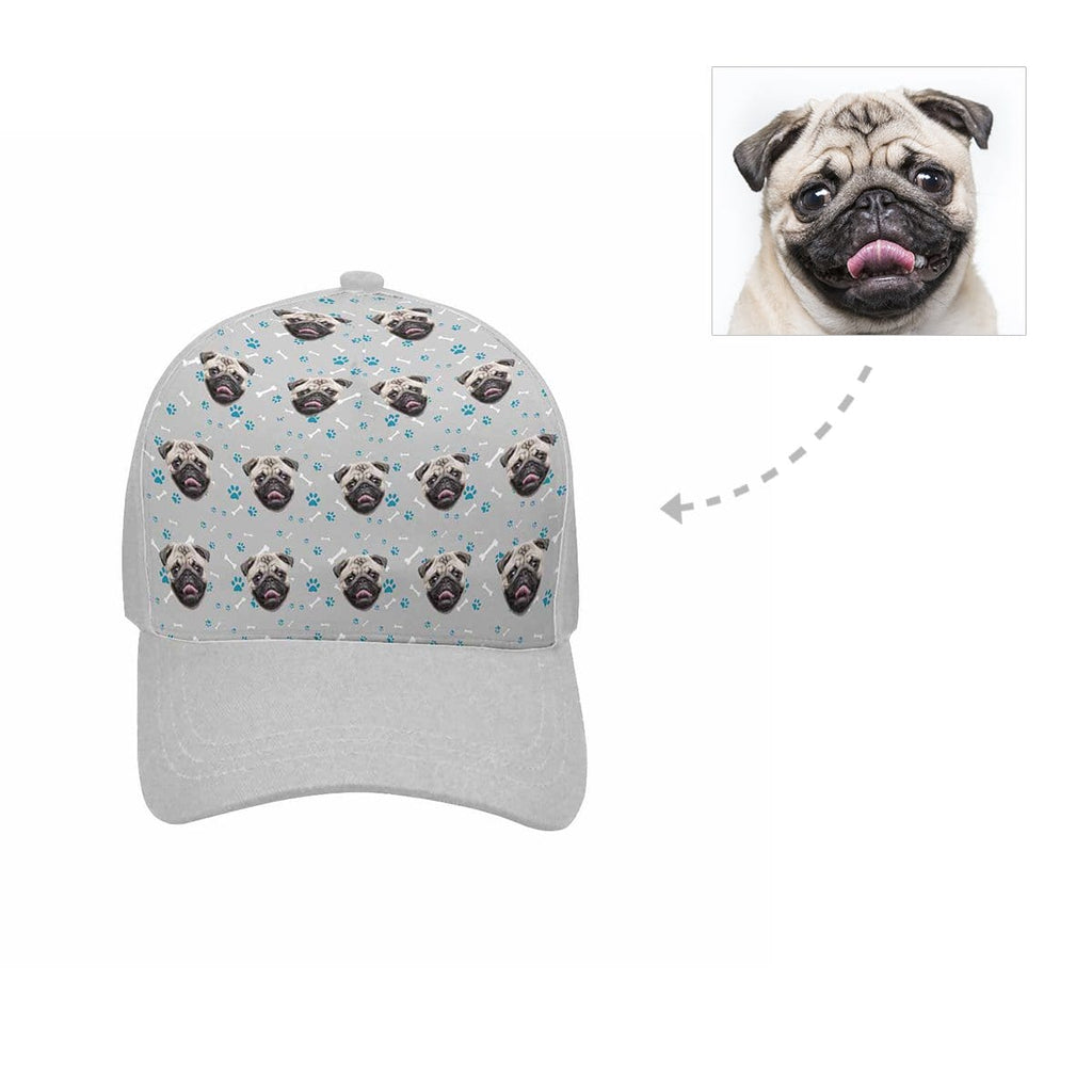 Custom Pug Face Paw and Bone Unisex Baseball Cap