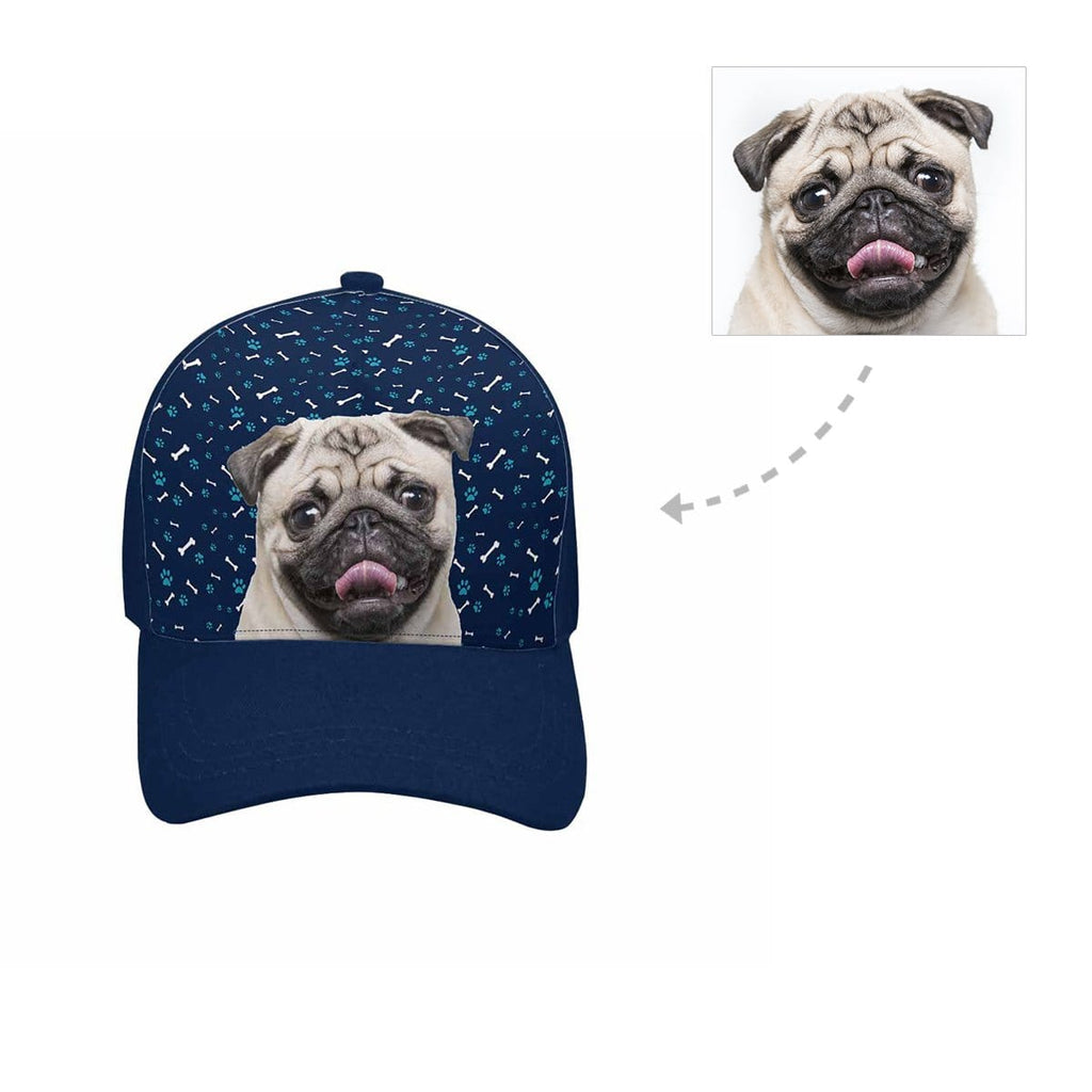 Custom Pug Dog Paw and Bone Unisex Baseball Cap