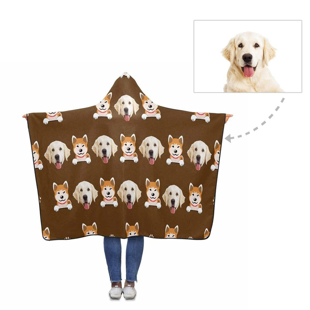 Custom Face Cute Dog Pattern Hooded Blanket