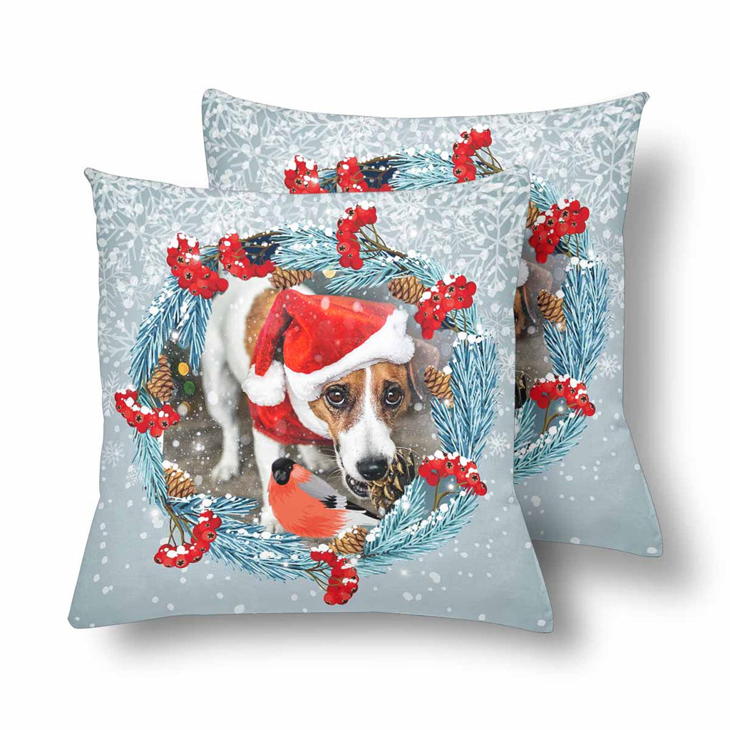 Custom Christmas Dog Photo Throw Pillow Cover