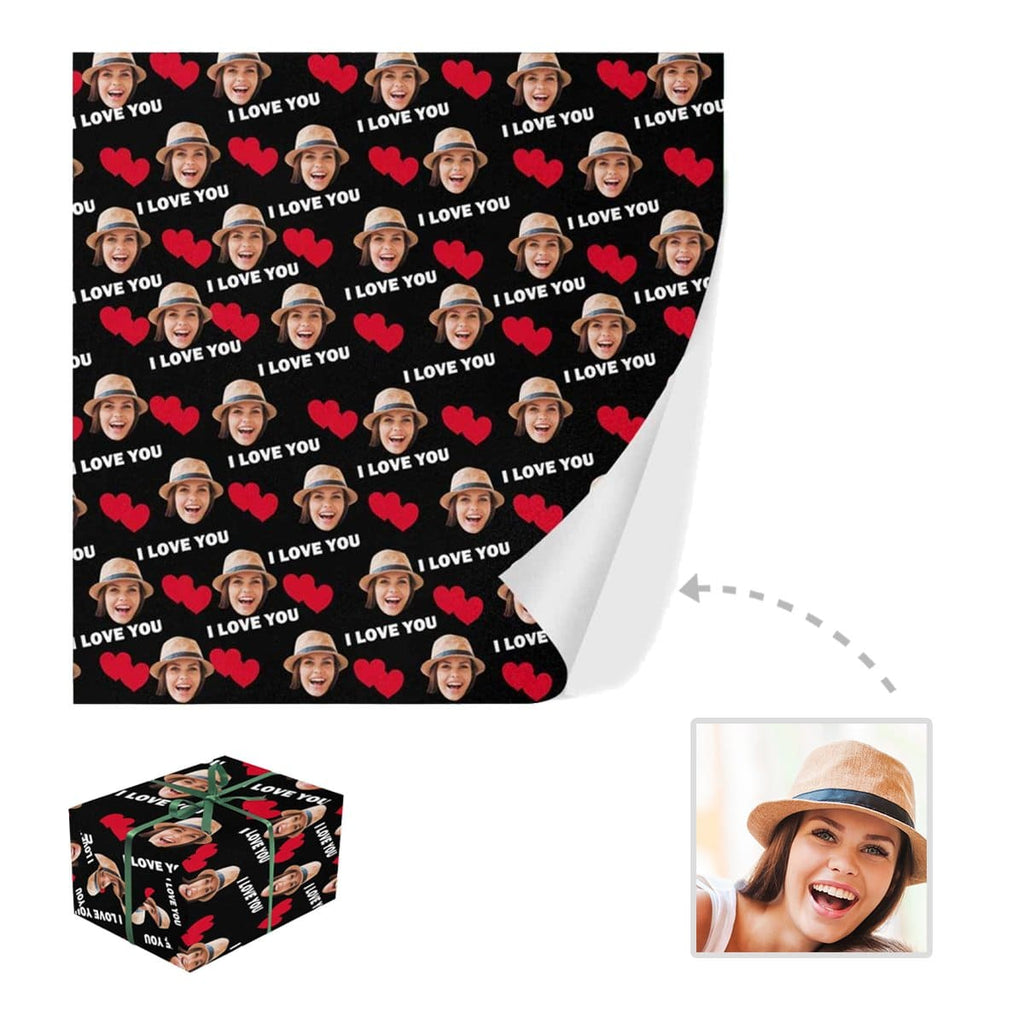 Custom Face I Love U Gift Wrapping Paper