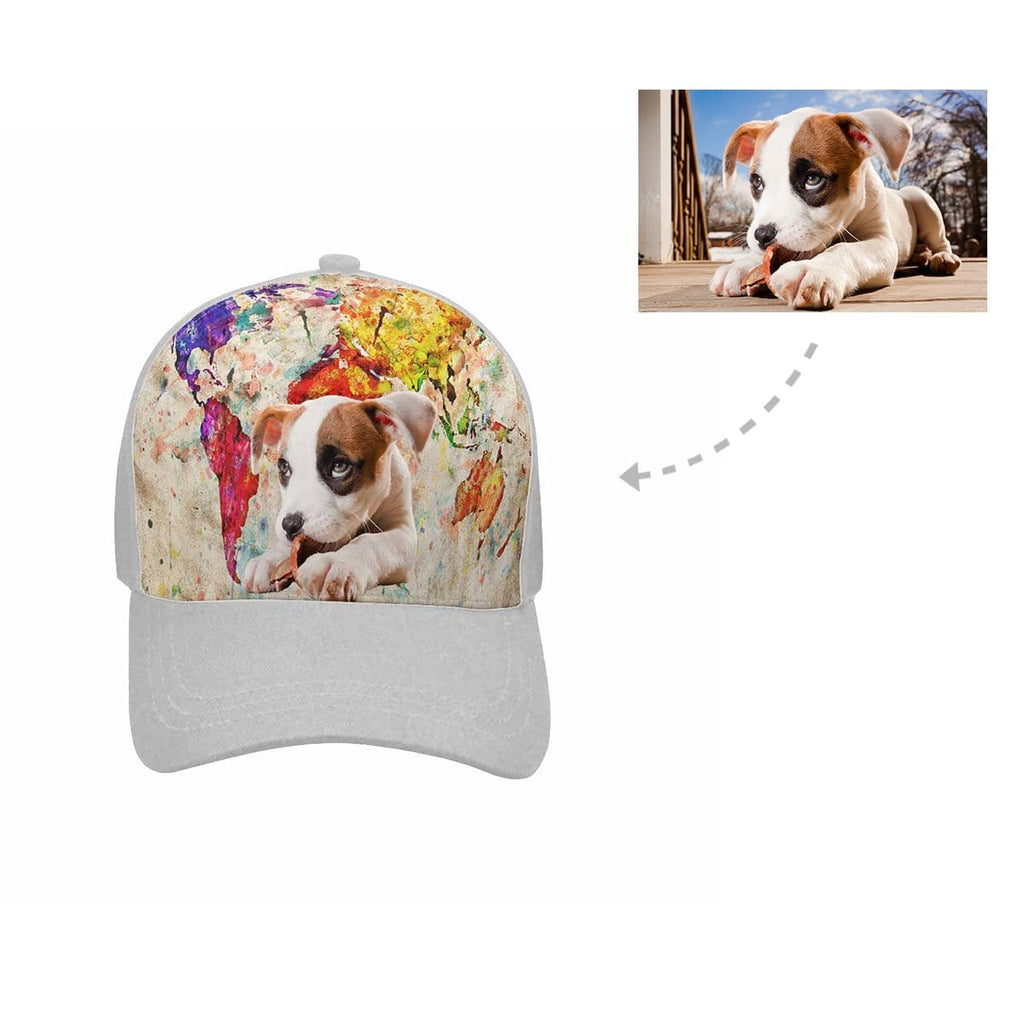 Custom Dog Colorful Map Unisex Baseball Cap