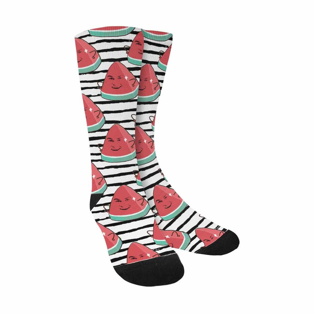 Custom Watermelon Man Face Stripe Sublimated Crew Socks