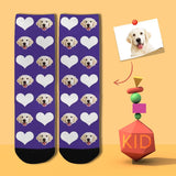 Custom Pet Face Heart Purple Kid's Socks