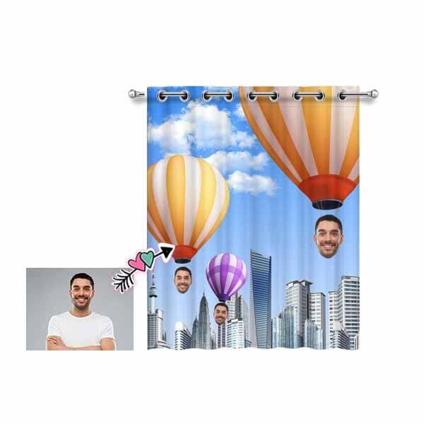 "Custom Face Hot Air Balloon Window Curtain 52"" x 63"""