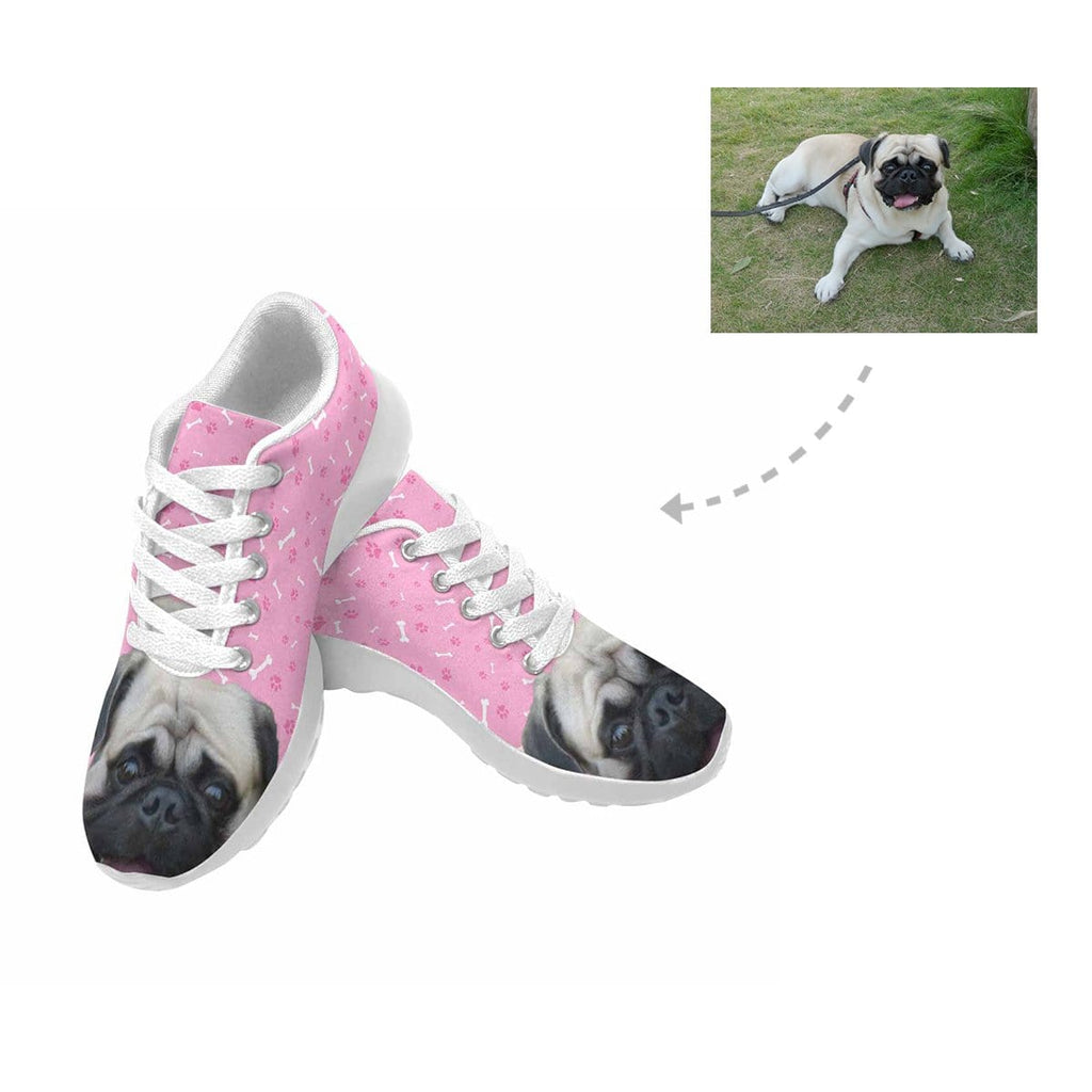 Custom Pug Dog Paw and Bone Women's Sneaker