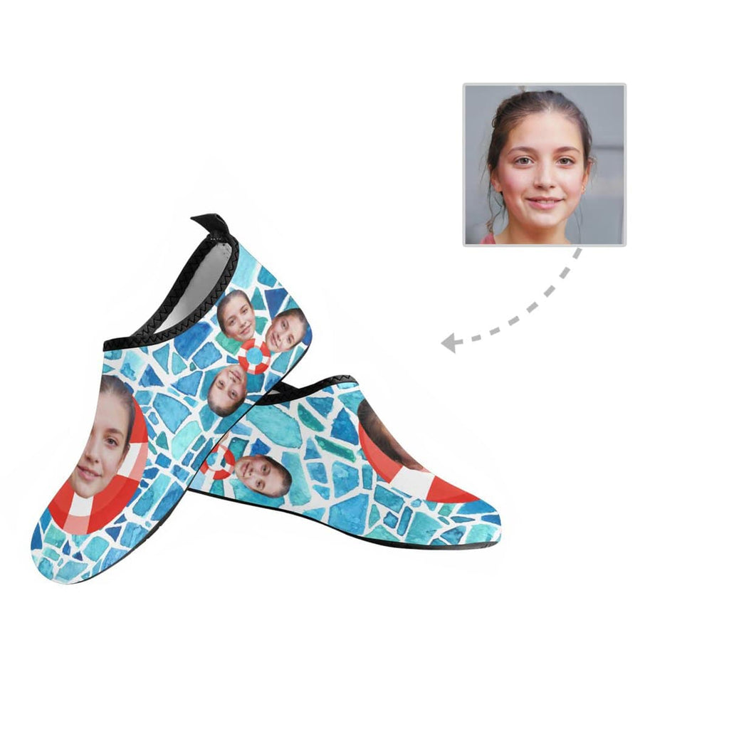 Custom Girlfriend Face Swimming Pool Men's Barefoot Aqua Shoes