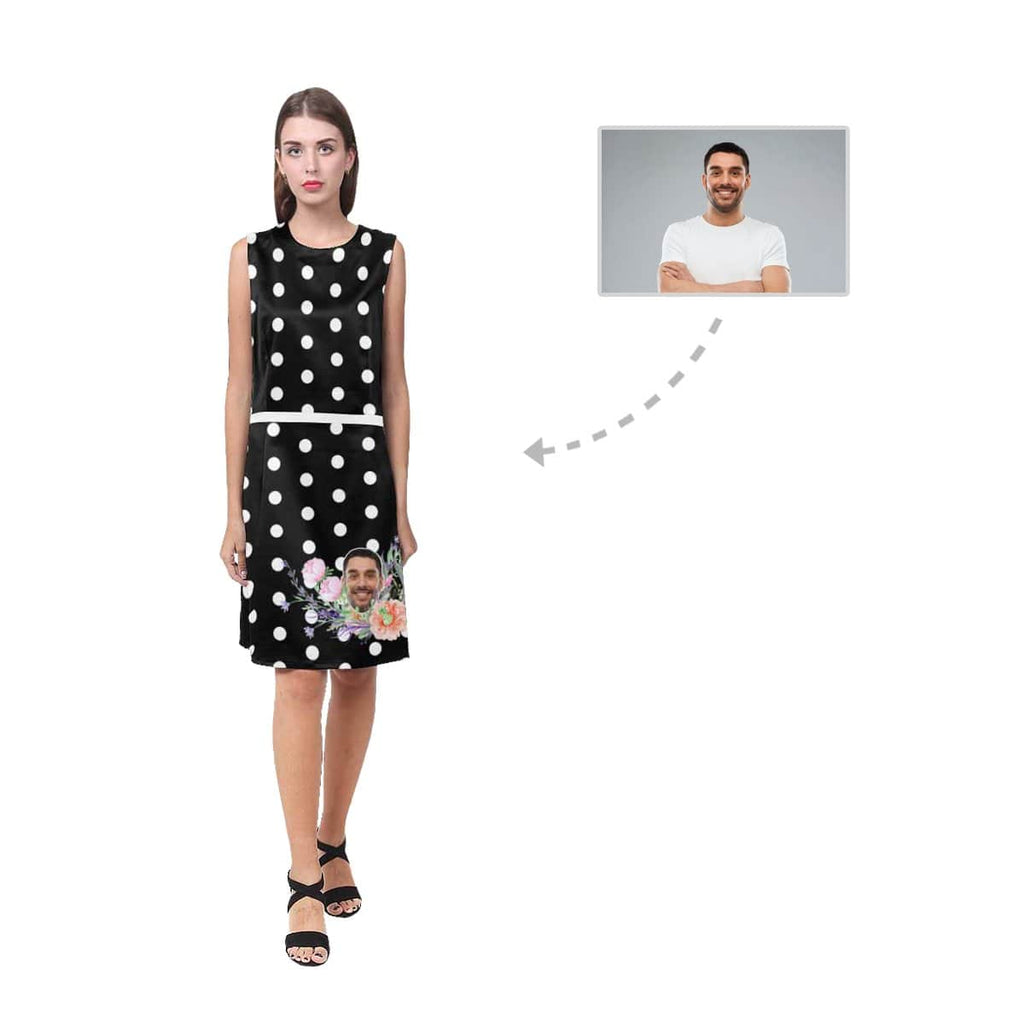 Custom Husband Face White Polka Dot Women's Sleeveless Dress