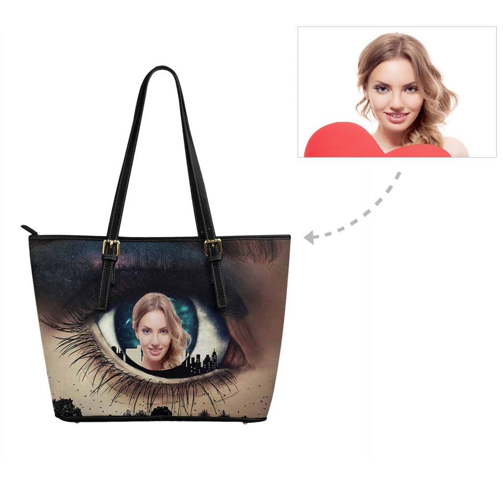 Custom Face Eye Leather Tote Bag