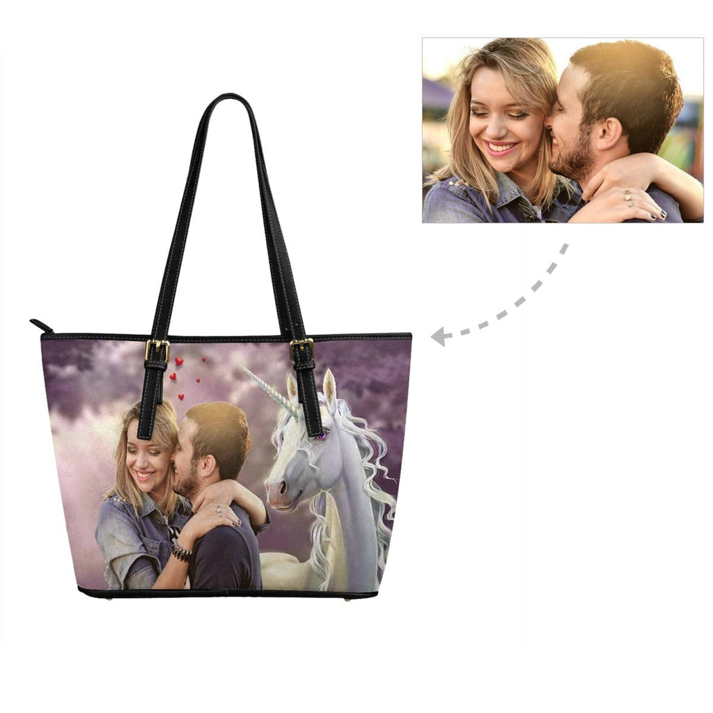 Custom Photo Couple Unicorn Leather Tote Bag