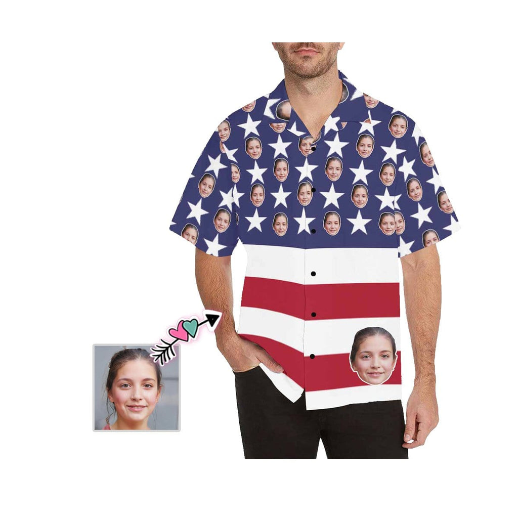 Custom Wife Face American Flag Men's All Over Print Hawaiian Shirt