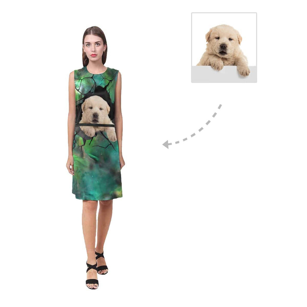 Custom Dog Photo Women's Sleeveless Dress