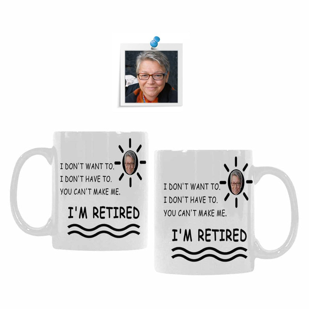 Custom Grandma Face Sun Retired Classical White Mug